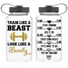 Train Like a Beast Look Like a Beauty One of a Kind Daily Water Intake... ($18) ❤ liked on Polyvore featuring home, kitchen & dining, drink & barware, drinkware, grey, home & living, water bottles & vacuum flasks, gray tote bag and grey tote bag