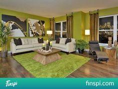Modern Living Room Design Decor With Green Interior Paint Ideas Living Room Green, Green Rooms, Living Room Paint, Interior Design Living Room, Living Room Designs, Living Room Decor, Living Rooms, Green Walls, City Living