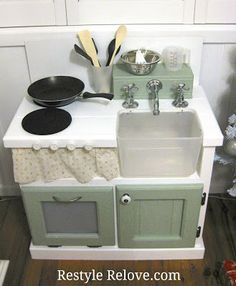diy kitchen kids | My big splurge was on the spout and tap handles. They were $30 new ...