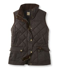 Bean's Upcountry Waxed Cotton Down Vest-- Coffee Brown, size M