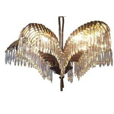 Image of French Deco 'Baguès' Bronze' Palm Frond Chandelier