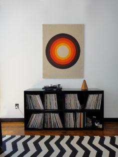 Geometric Op Art Piece on Linen Frame // Target Mod MidCentury Modern 70s 60s Rya Knoll Eames Pop Print Wall Decor Minimalism Picture 1970s. $159.00, via Etsy.
