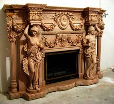 Камин Августиан (--Скульптуры, барельефы, ) Victorian Furniture, Unique Furniture, Wood Furniture, Vintage Furniture, Furniture Design, Fireplace Mantle, Fireplace Surrounds, Fireplace Design, Wood Carving Art