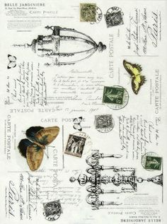 Ricepaper/ Decoupage paper, Scrapbooking Sheets Vintage Carte Postale Black 2   eBay