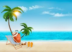 Buy Travel Background With Beach Chair And Palms by almoond on GraphicRiver. Travel Background With Beach Chair And Palms. Fully editable, vector objects separated and grouped, gradient . Tropical Background, Beach Background, Creative Background, Cartoon Background, Background Images, Vector Background, Farm Cartoon, Beach Cartoon, Summer Backgrounds