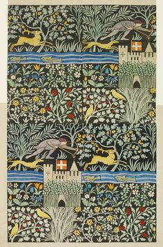 Voysey | V&A Search the Collections // Huntsmen wallpaper design by C.F.A. Voysey, 1919.