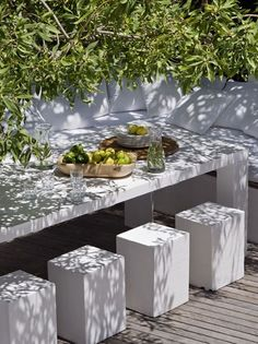 Cement boxes for seating