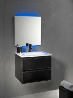 Loft & Bath® Noir > Mobilier façades cuir > Ensemble suspendu 60 cm