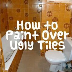 How to paint tiles! It is a super easy and very cheap way of updating your old… Painting Bathroom Tiles, Paint Tiles, Bathroom Renos, Laundry In Bathroom, Bathroom Ideas, Bathroom Furniture, Home Renovation, Home Remodeling, Old Bathrooms