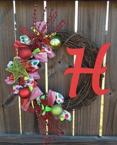 Monogrammed Christmas Wreath  Christmas by TayandJaeCreations1, $55.00
