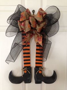HALLOWEEN WITCH Legs DOOR/Wall hanger/wreath by Toleshack on Etsy, $22.50