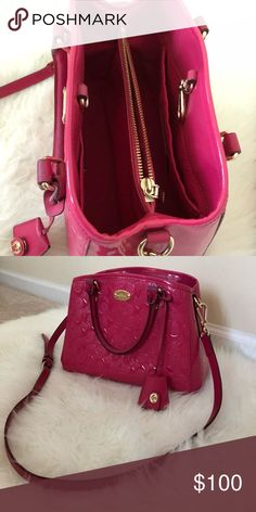 Coach handbag Hot pink color, excellent condition! With handle and cross body belt. Coach Bags Crossbody Bags