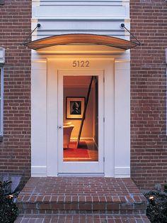 Front door awning, front door canopy и exterior doors. Front Door Overhang, Front Door Porch, Patio Doors, Front Entry, Front Doors, Front Stoop, Garage Doors, Canopy Bedroom, Diy Canopy