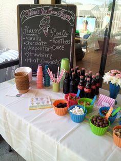 ice cream social birthday party theme. ice cream candy table