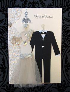 Crystal Pearl Personalized Wedding Dress Card / C5 Size by BSylvar, $27.50