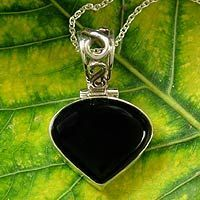 Onyx pendant necklace, 'Enigma' by NOVICA