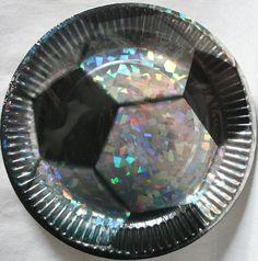 Piattini Calcio iridescenti diam.18 cm. Piatti in carta deco palla da Soccer per Festa a Tema e Compleanno. Disponibili da C&C Creations Store