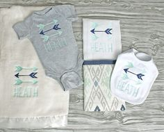 Baby boy coming home outfit personalized baby shower monogrammed onepiece blanket burp and bib tribal arrows in gray, mint and navy newborn by ChesapeakeBayby on Etsy https://www.etsy.com/listing/288533443/baby-boy-coming-home-outfit-personalized