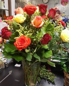 Busy working with the beauty! Rose Flower Arrangements, Flowers, Your Favorite, Favorite Color, Love And Respect, All The Colors, Floral Design, Shapes, Table Decorations