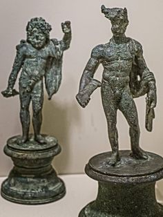A standing Jupiter and Mercury from a Roman Lararium (household shrine) from Boscoreale, Italy century CE Ancient Artefacts, Greek Pantheon, Middle Eastern Art, Roman Gods, Greek Gods And Goddesses, Roman History, Roman Art, Small Sculptures, 1st Century