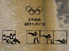 Olimpic Games by Tammam Azzam - Located in Syria Protest Kunst, Protest Art, Banksy, Olympic Colors, Best Street Art, Political Art, Street Art Graffiti, Chalk Art, Street Artists