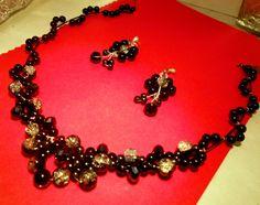Set+jewelry+&+Austrian+crystals+&+black+pearls+++from+CamelysUnikatBijoux+by+DaWanda.com