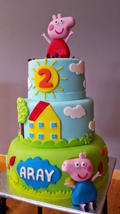 yourcakes: Tarta de Peppa pig There exists a new pig around town, plus her name Peppa Pig Birthday Outfit, Peppa Pig Birthday Invitations, Pig Birthday Cakes, 2nd Birthday, Tortas Peppa Pig, Peppa Pig Cakes, Aniversario Peppa Pig, George Pig, Pepps Pig