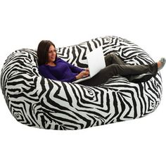 Even more awesome.  giant beanbag chair in zebra