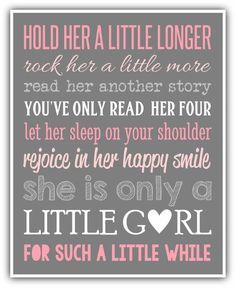HOLD HER a little longer print - personalized colors - Girl wall art print. Girl nursery, little girl print. playroom art baby shower gift