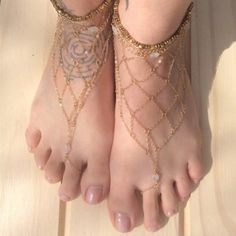 Exquisite Fishing Net Pattern Barefoot Sandal For Women (ONE PIECE), AS THE PICTURE in Anklets | DressLily.com