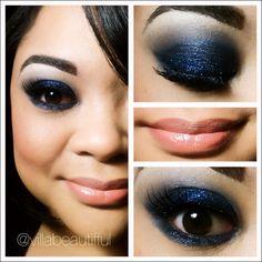 Deep intense blue smokey eye using L'Oreal Infallible Eyeshadow Midnight Blue #makeup