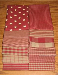 Dunroven House 12 Primitive Country Red Homespun Fabric 10