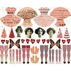 Ideas For Vintage Art Collage Paper Dolls Paper Puppets, Paper Toys, Vintage Paper Dolls, Vintage Art, Vintage Pink, Collage Sheet, Collage Art, Paper Art, Paper Crafts