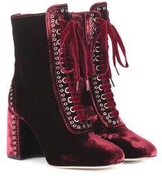Miu Miu Bordeaux lace-up velvet ankle boots Red Ankle Boots, Velvet Ankle Boots, Red Boots, Leather Ankle Boots, Lace Up Boots, Knee High Boots, Ankle Booties, Bootie Boots, Shoe Boots