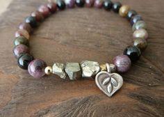 Tourmaline & Pyrite Mala Bracelet - Lotus, Reiki, Layering Bracelet, Meditation, Earthy Bracelet, Yoga Jewlery, Bohemian, Beachy, Charm via Etsy