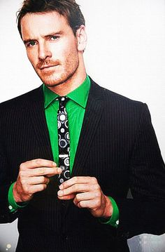 Michael Fassbender. Love his outfit!!