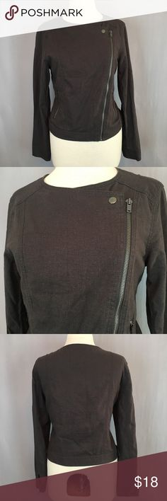 GAP SC Moto Jacket Clean Charcoal Zip Up Light weight linen blend motorcycle style jacket. Great layering piece for fall. Features zipper pockets. Approximate measurements: bust: 39 inches, waist: 39 inches, shoulder to bottom: 20 inches, sleeve length: 23 inches, shoulder to shoulder: 17 inches GAP Jackets & Coats Utility Jackets
