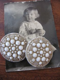 Antique Porcelain Buttons two Rare Victorian brass by MOJEART