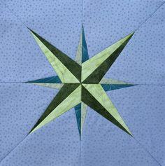 Kompassi, koko n. 31 x 31 cm, tarvitaan 2 väriparia tumma-vaalea + tausta, marraskuu 2015