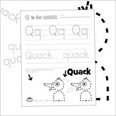 Free printables by Hibos the Owl.  #printables #freeschool #preschool #letters #letteroftheday  #letterq