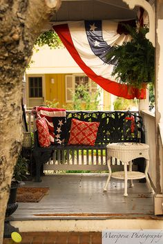 Virtual Properties Realty loves this patriotic porch! Outdoor Retreat, Outdoor Spaces, Outdoor Living, Outdoor Decor, Happy 4 Of July, Fourth Of July, Decks And Porches, Front Porches, Porch Bench