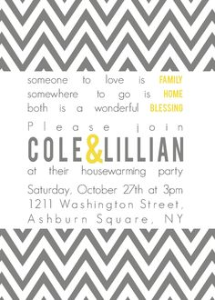 Cole Custom Chevron Housewarming Party Invitation - PRINTABLE INVITATION DESIGN. $15.00, via Etsy.