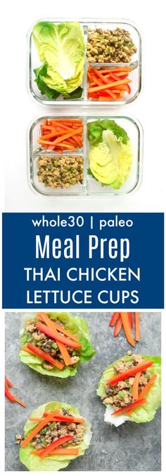 Meal Prep Thai Chicken Lettuce Cups (Whole30 Paleo) - Asian inspired ground chicken lettuce cups make the best meal prep lunch! Tons of protein, flavor, and crunch in this nutritious meal. Whole30/Paleo approved! | tastythin.com