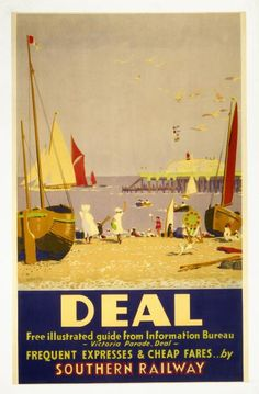 Inch Print (other products available) - Poster produced for the Southern Railway (SR) to promote the coastal resort of Deal, in Kent. The artwork is by Sir Herbert Alker Tripp.<br> - Image supplied by National Railway Museum - print made in the UK Fine Art Prints, Framed Prints, Canvas Prints, National Railway Museum, Southern Railways, Railway Posters, Train Posters, Senior Trip, Illustrations