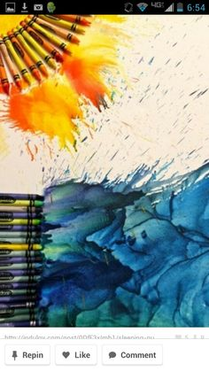 Trendtastic: Melted Crayon Art and Other Crayon Crafts for Kids Cute Crafts, Crafts To Do, Crafts For Kids, Crayons Pastel, Crayon Crafts, Wax Crayon Art, Crayon Ideas, Crayon Canvas, Crayon Painting