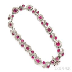 Antique Ruby and Diamond Necklace | Sale Number 2826B, Lot Number 462 | Skinner Auctioneers