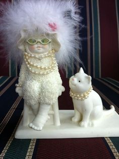 Dept 56 Cat Lady Hat Girls Night Out Pearls Collectible Department Lover Gift | eBay