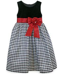 Jayne Copeland Girls' Velvet Check Dress