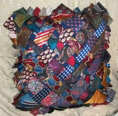 pillow made from old ties