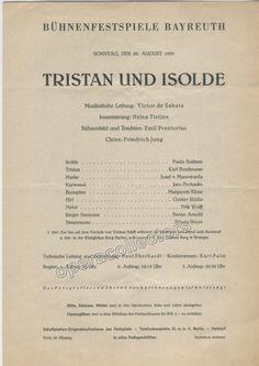 Bayreuth 1939 Tristan und Isolde Playbill